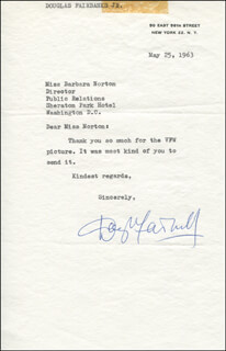 DOUGLAS FAIRBANKS JR. - TYPED LETTER SIGNED 05/25/1963