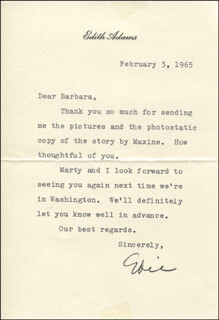 Autographs: EDIE ADAMS - TYPED LETTER SIGNED 02/03/1965