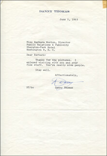 DANNY THOMAS - TYPED LETTER SIGNED 06/05/1963