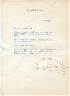 LIZABETH SCOTT - TYPED LETTER SIGNED