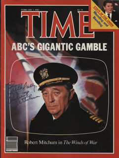 ROBERT MITCHUM - MAGAZINE COVER SIGNED