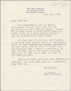 VERN HAUGLAND - TYPED LETTER SIGNED 01/19/1961