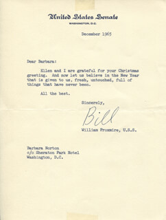 WILLIAM PROXMIRE - TYPED LETTER SIGNED 12/1965