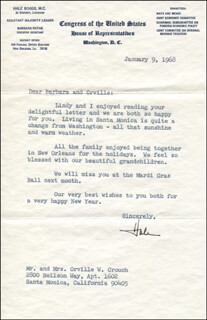 HALE BOGGS - TYPED LETTER SIGNED 01/09/1968
