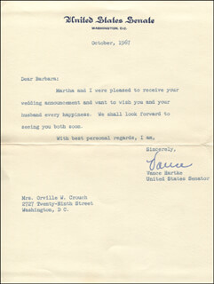 VANCE HARTKE - TYPED LETTER SIGNED 10/1976