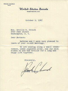 FRANK CHURCH - TYPED LETTER SIGNED 10/09/1967