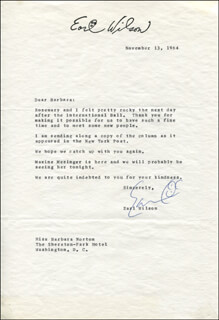 EARL WILSON - TYPED LETTER SIGNED 11/13/1964