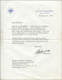 VICE PRESIDENT HUBERT H. HUMPHREY - TYPED LETTER SIGNED 11/15/1965