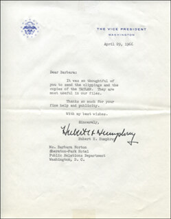 VICE PRESIDENT HUBERT H. HUMPHREY - TYPED LETTER SIGNED 04/29/1966