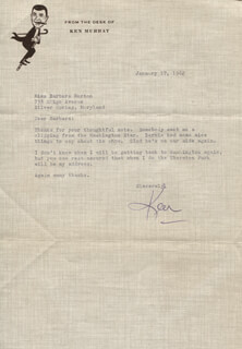 KEN MURRAY - TYPED LETTER SIGNED 01/17/1962