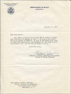 KATHERINE H. MAYBERRY - TYPED LETTER SIGNED 02/15/1962