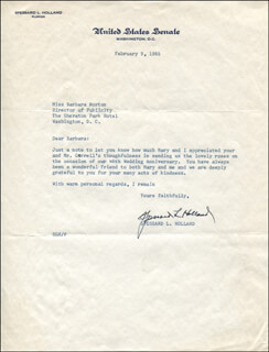 Autographs: SPESSARD L. HOLLAND - TYPED LETTER SIGNED 02/09/1965