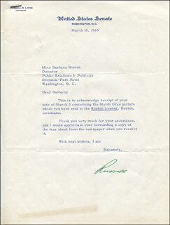 RUSSELL LONG - TYPED LETTER SIGNED 03/10/1965