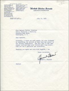 Autographs: SPESSARD L. HOLLAND - TYPED LETTER SIGNED 07/12/1965
