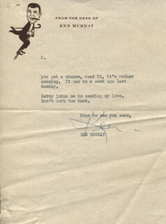 KEN MURRAY - TYPED LETTER SIGNED 08/01/1960