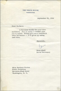 Autographs: BESS ABELL - TYPED LETTER SIGNED 09/25/1964