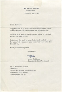 MYER FELDMAN - TYPED LETTER SIGNED 01/22/1965