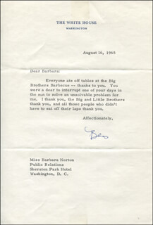 Autographs: BESS ABELL - TYPED LETTER SIGNED 08/16/1965