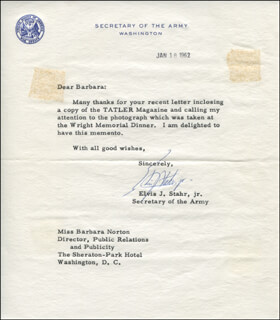 ELVIS J. STAHR JR. - TYPED LETTER SIGNED 01/18/1962