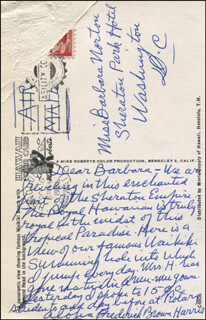 REVEREND FREDERICK BROWN HARRIS - AUTOGRAPH LETTER SIGNED
