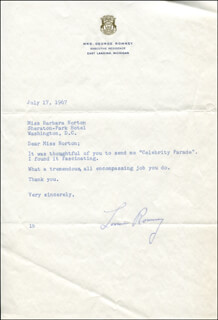 LENORE (MRS. GEORGE W.) ROMNEY - TYPED LETTER SIGNED 07/17/1967