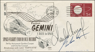 GEMINI V CREW - COMMEMORATIVE ENVELOPE SIGNED CO-SIGNED BY: COLONEL GORDON COOPER JR., CAPTAIN CHARLES PETE CONRAD JR.