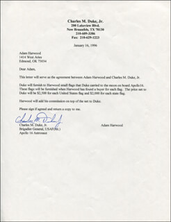 Autographs: BRIGADIER GENERAL CHARLES M. DUKE JR. - TYPED LETTER SIGNED