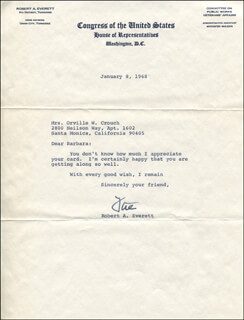 ROBERT A. EVERETT - TYPED LETTER SIGNED 01/08/1968