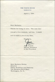 JACK VALENTI - TYPED LETTER SIGNED 04/03/1964