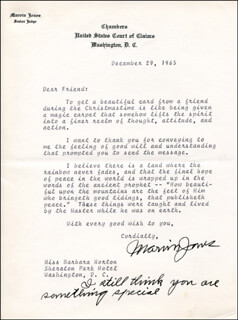 MARVIN JONES - TYPED LETTER SIGNED 12/29/1965