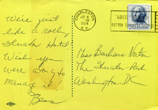 BESS ABELL - AUTOGRAPH NOTE SIGNED CIRCA 1964