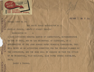PRESIDENT HARRY S TRUMAN - TELEGRAM UNSIGNED 03/01/1952