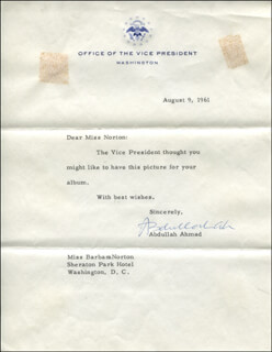 Autographs: ABDULLAH (TAN SRI) AHMAD - TYPED LETTER SIGNED 08/09/1961