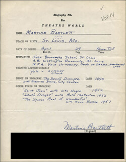 MARTINE BARTLETT - AUTOGRAPH RESUME SIGNED