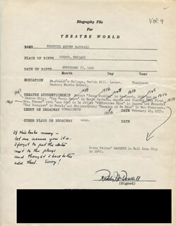 RODDY McDOWALL - TYPED RESUME SIGNED