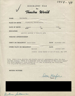 DON KEEFER - TYPED RESUME SIGNED