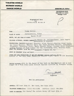 TOMMY HOLLIS - TYPED RESUME SIGNED