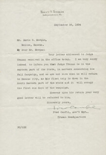Autographs: FRED CANFIL - TYPED LETTER SIGNED 09/26/1934