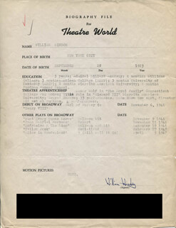 WILLIAM WINDOM - TYPED RESUME SIGNED