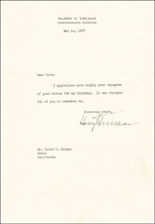 PRESIDENT HARRY S TRUMAN - TYPED LETTER SIGNED 05/14/1957