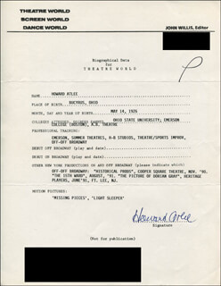 Autographs: HOWARD ATLEE - TYPED RESUME SIGNED
