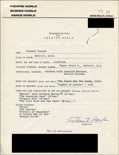 CLEMENT FOWLER - TYPED RESUME SIGNED