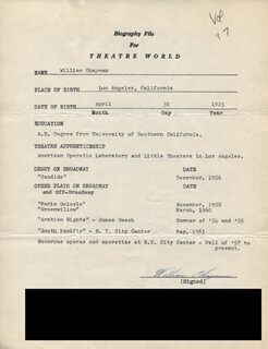 WILLIAM CHAPMAN - TYPED RESUME SIGNED