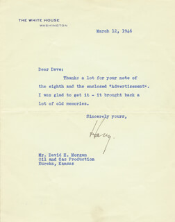 PRESIDENT HARRY S TRUMAN - TYPED LETTER SIGNED 03/12/1946