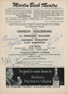 ORPHEUS DESCENDING BROADWAY CAST - SHOW BILL SIGNED CO-SIGNED BY: CLIFF ROBERTSON, MAUREEN STAPLETON, LOIS SMITH