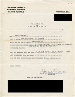 SANDY LUNDWALL - TYPED RESUME SIGNED