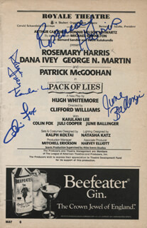 PACK OF LIES PLAY CAST - SHOW BILL SIGNED CO-SIGNED BY: ROSEMARY HARRIS, KAIULANI LEE, DANA IVEY, JUNE BALLINGER, COLIN FOX