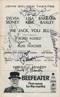 ME JACK, YOU JILL PLAY CAST - SHOW BILL SIGNED CO-SIGNED BY: LISA KIRK, HAROLD J. KENNEDY, SYLVIA SIDNEY, BARBARA BAXLEY, RUSS THACKER, ROBES KOSSEZ