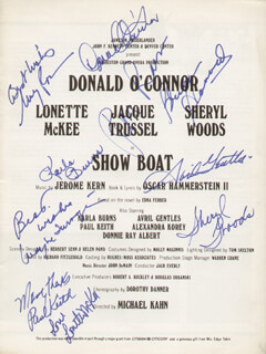 SHOW BOAT PLAY CAST - PROGRAM SIGNED CO-SIGNED BY: DONALD O'CONNOR, AVRIL GENTLES, PAUL KEITH, RON RAINES, LONETTE MCKEE, KARLA BURNS, WAYNE TURNAGE, BRUCE A. HUBBARD, SHERYL WOODS, MARY ROCCO