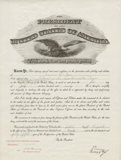 NEWTON D. BAKER - MILITARY APPOINTMENT SIGNED 08/05/1920 CO-SIGNED BY: MAJOR GENERAL PETER CHARLES HARRIS